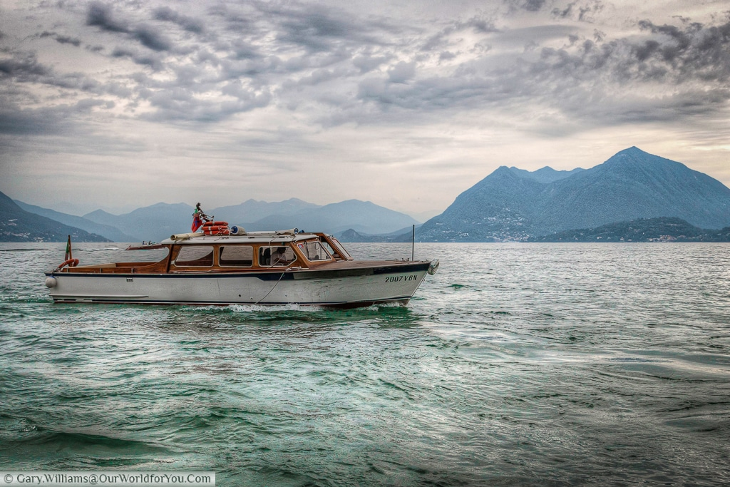 A boat on Lake Maggiore, Piedmont, Italy