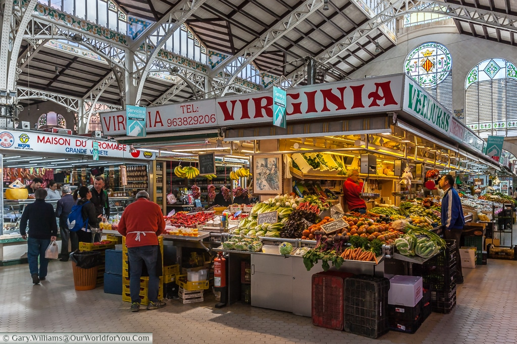 A greengrocer stall in the Mercado Central, Valencia, Spain