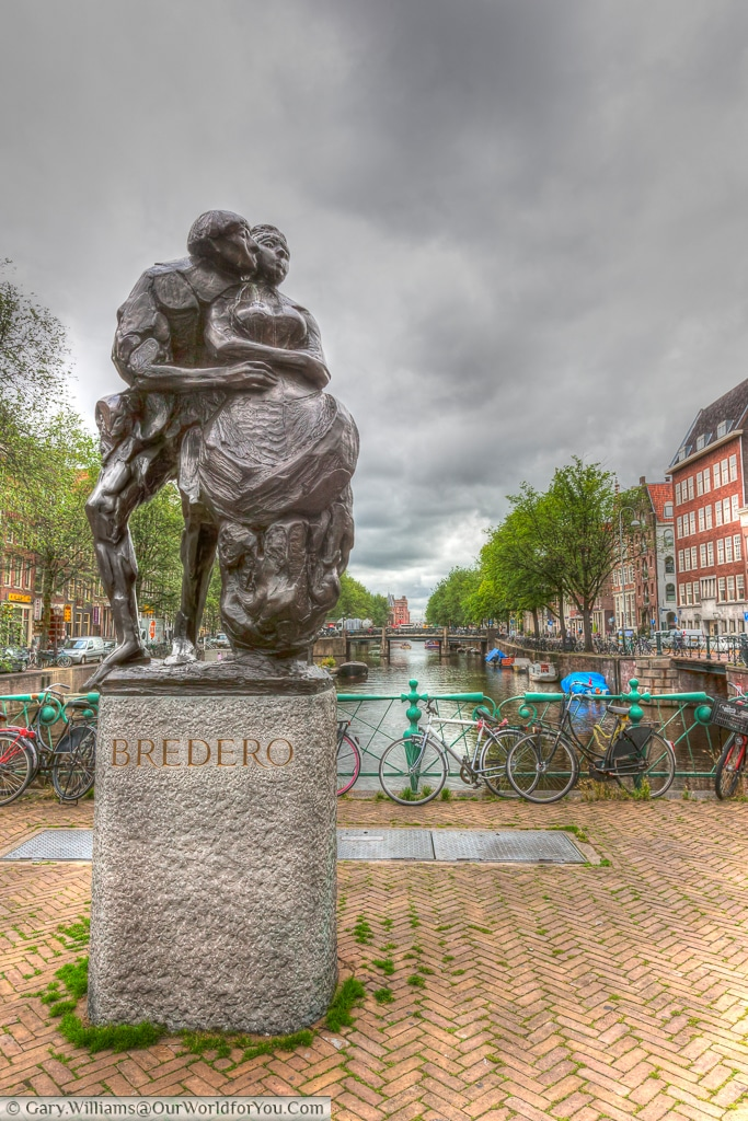 Monument to Gerbrand Bredero, a Dutch poet and playwright in the period known as the Dutch Golden Age.