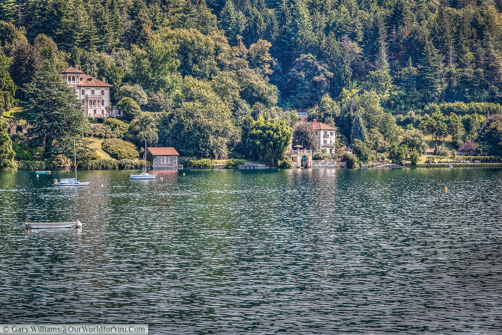 A peaceful view south of Orta San Giulio, Lake Orta, Italy