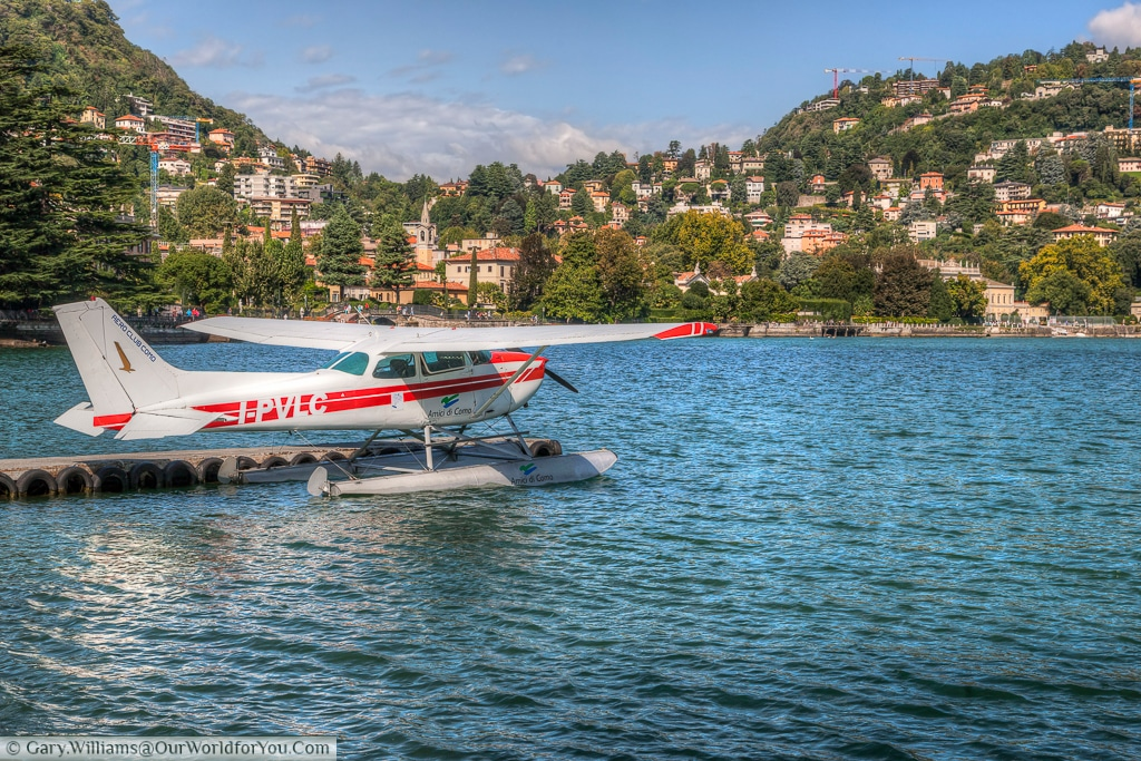 A seaplane, providing a unique view of Lake Como, Lombardy, Italy