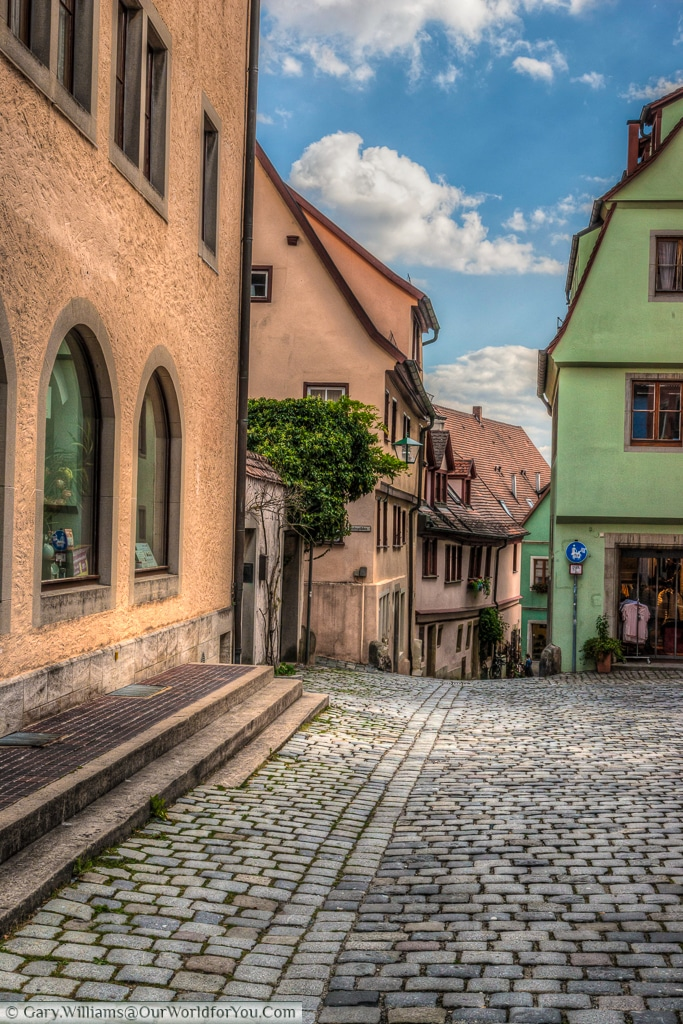 A view down Jakobsgäßchen, Rothenburg ob der Tauber, Bavaria, Germany