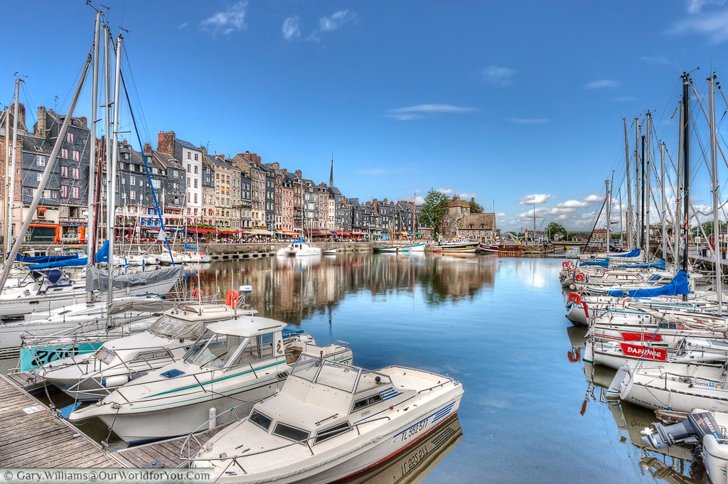 A view of the harbour with plenty of pleasure boats moored up, Honfleur, France