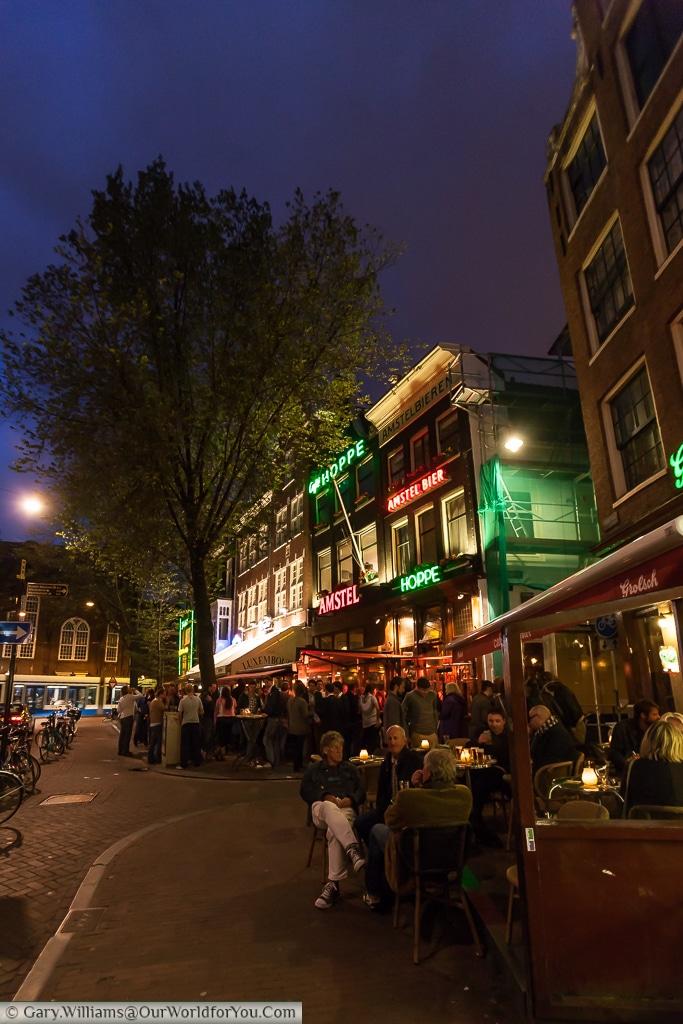 Bars along Spuistraat, including Café Hoppe, Amsterdam, The Netherlands