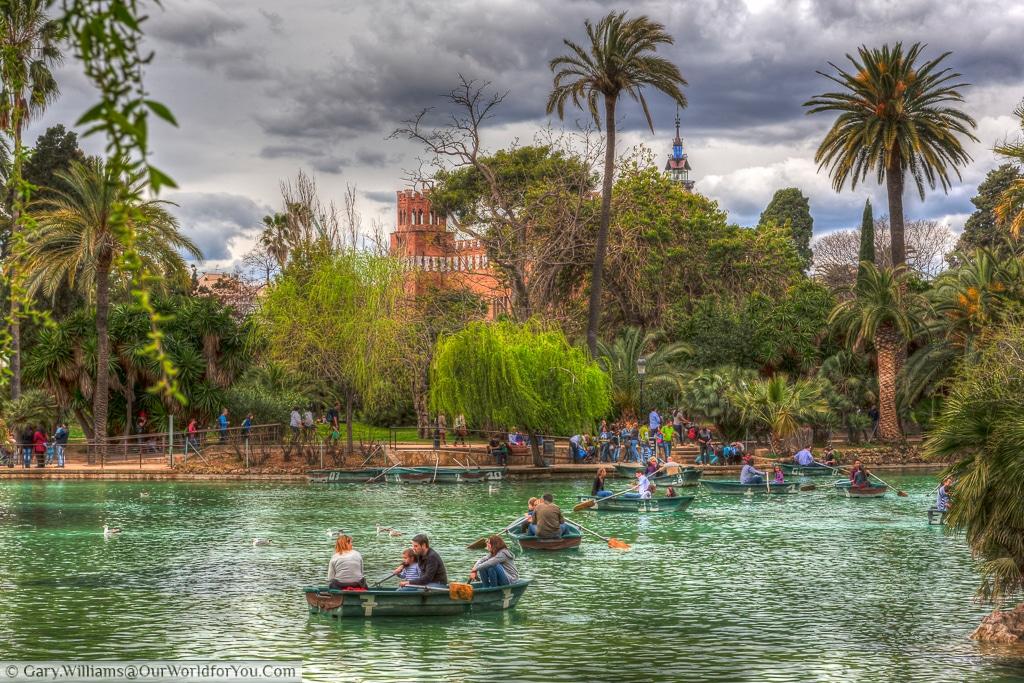 Boating on the lake in the Parc de la Ciutadella, Barcelona, Spain