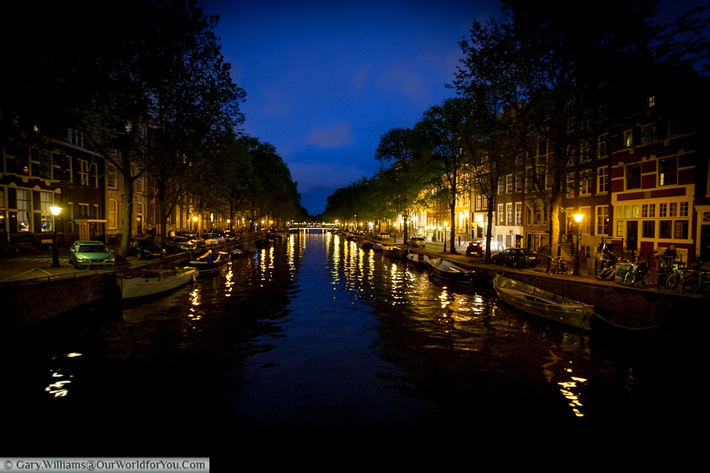 Canal at night, Amsterdam, The Netherlands