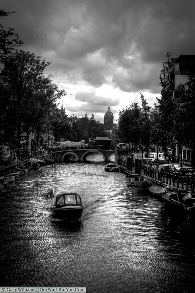 Canal leading to the Church of Saint Nicholas, Amsterdam, The Netherlands