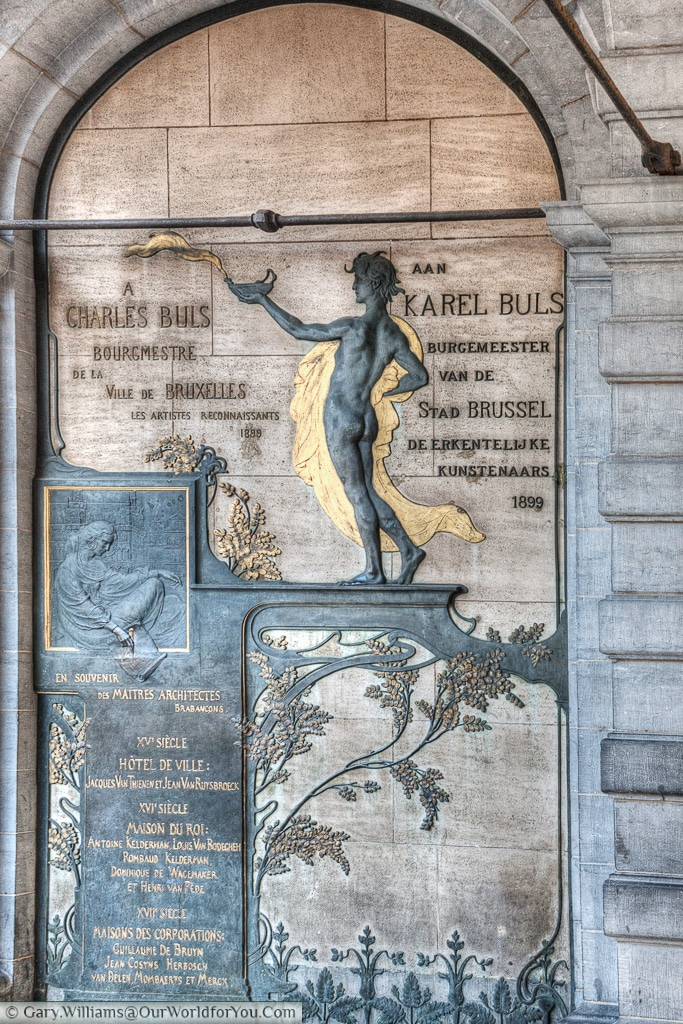 An Art Nouveau plaque to Charles Buls, former Mayor of Brussels