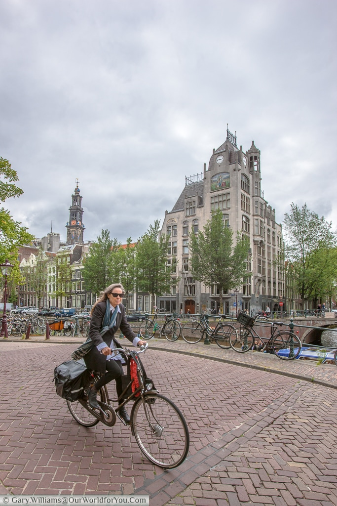 Cyclist in Amsterdam, Amsterdam, The Netherlands