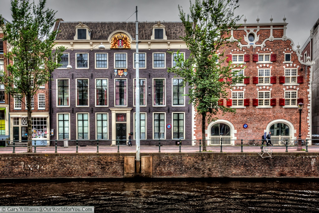 Elegant Town Houses on the Singel canal, Amsterdam, The Netherlands