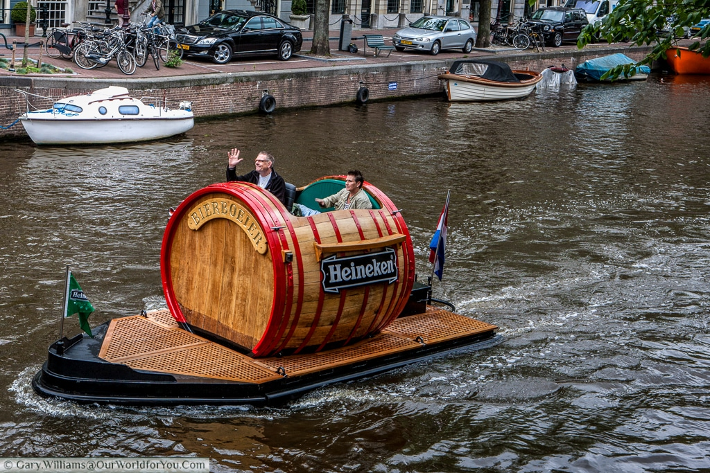 Lovely to see this cheeky little craft on the canals in Amsterdam, The Netherlands