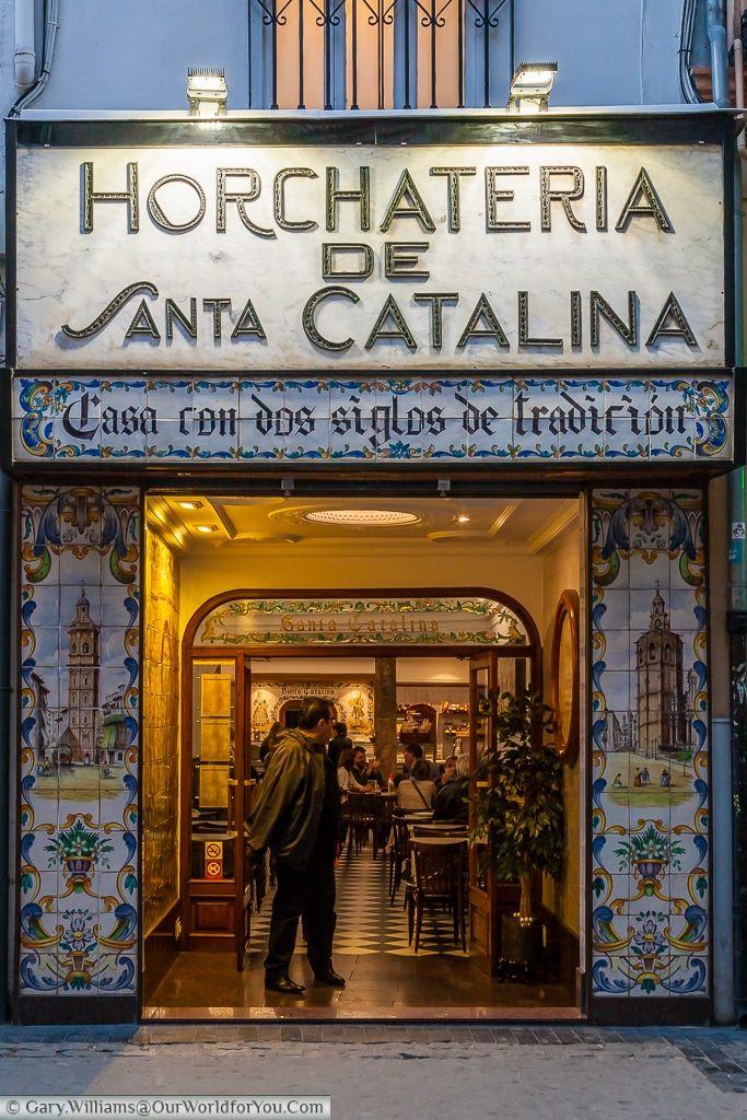 The exterior of Horchateria de Santa Catalina in the evening, Valencia, Spain