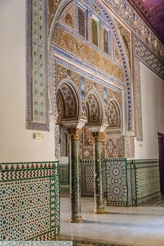A wonderful Moorish archway withing the Real Alcázar, Seville, Spain