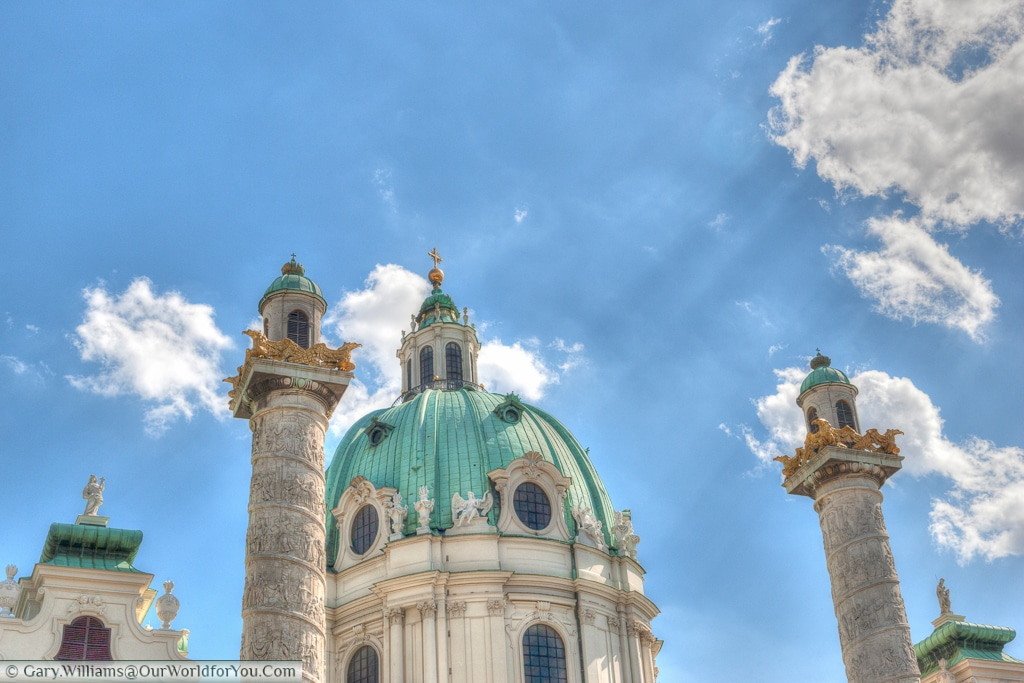Karlskirche is a beautiful barque church overlooks Resselpark in Vienna.