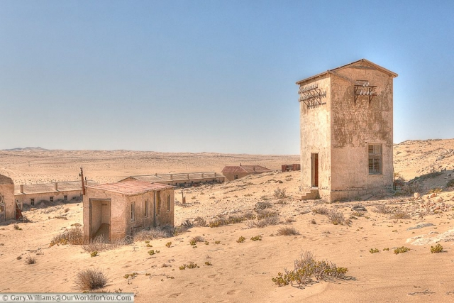 The view of the working end of the town from the high ground, Kolmanskop, Namibia
