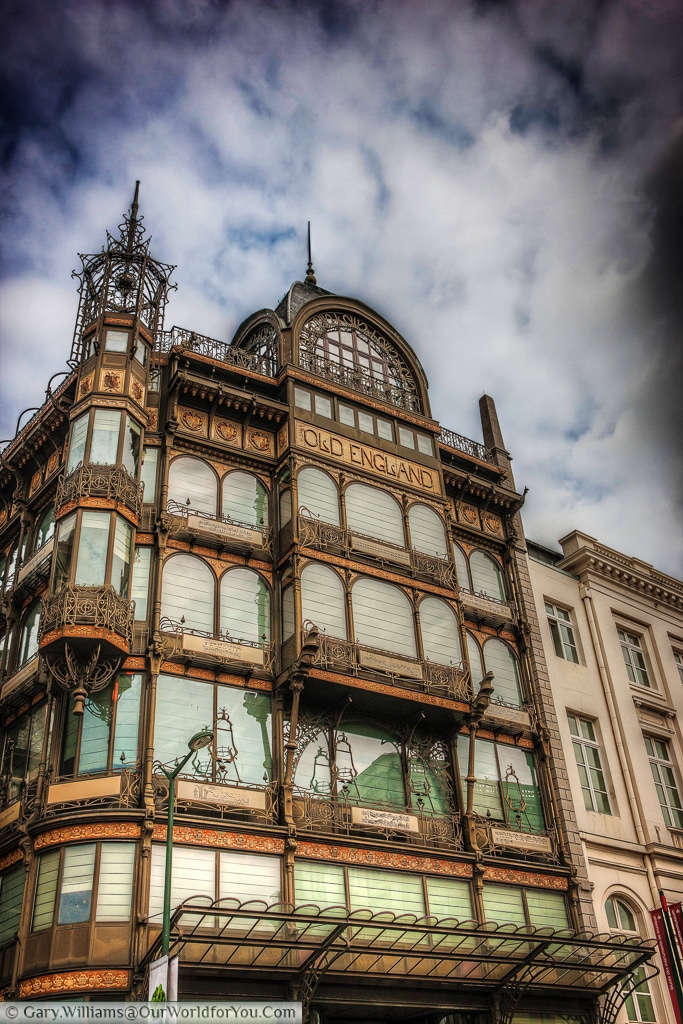 The grand exterior of the Old England department store in Brussels.