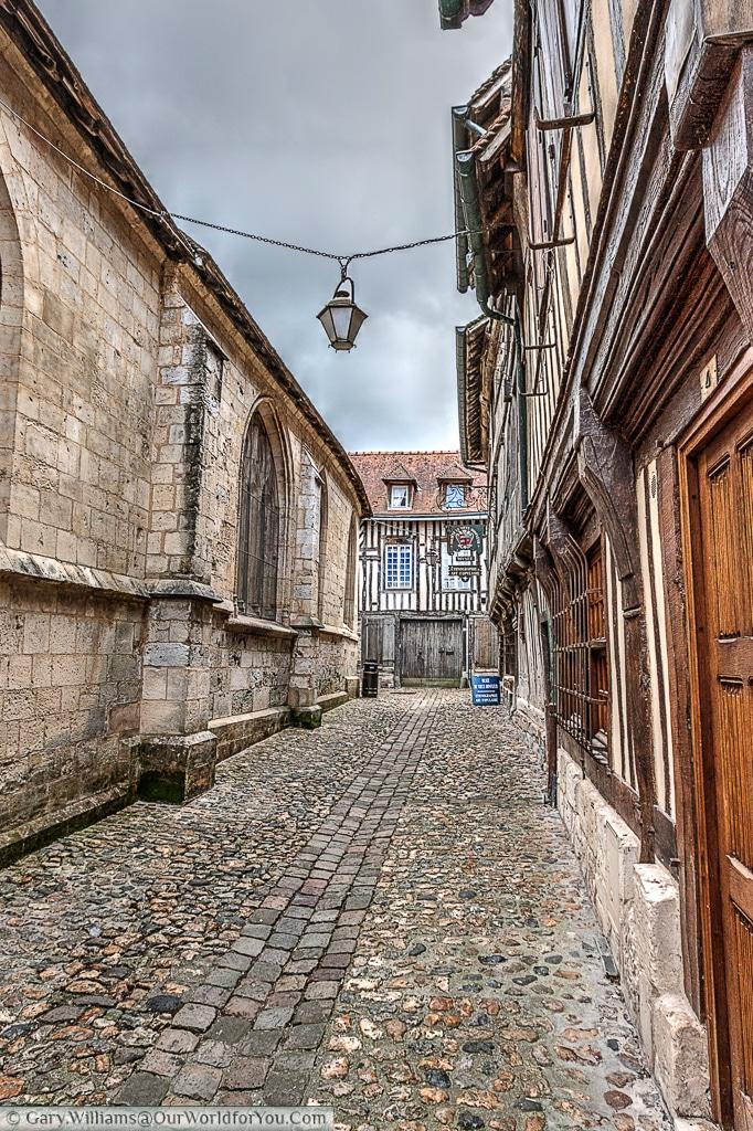 The cobbled lanes of old Honfleur, France.
