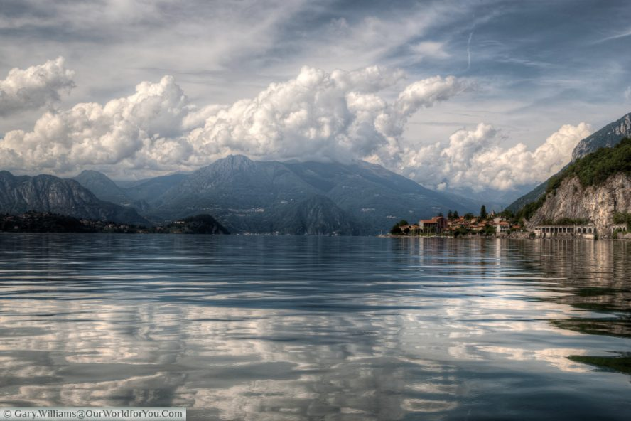 A view of Lake Como taken from the lakes itself.