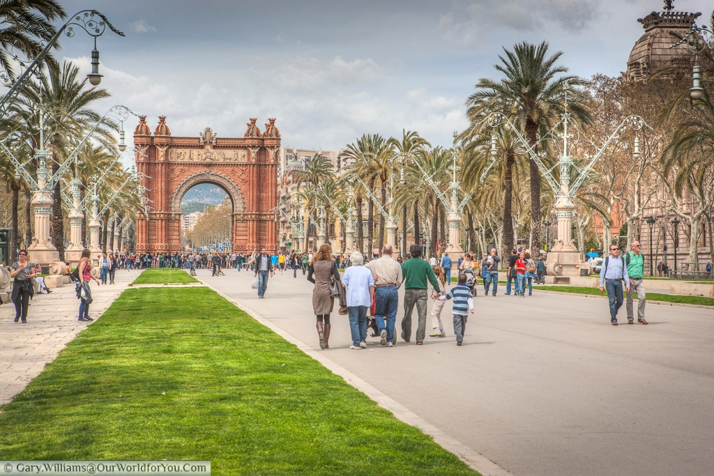 Strolling towards the Arc de Triomf, Barcelona, Spain