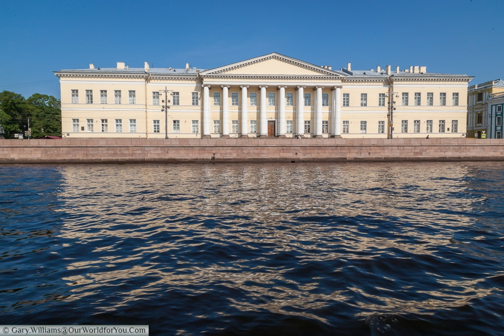 The Academy of Sciences Building from the river Neva, St Petersburg, Russia