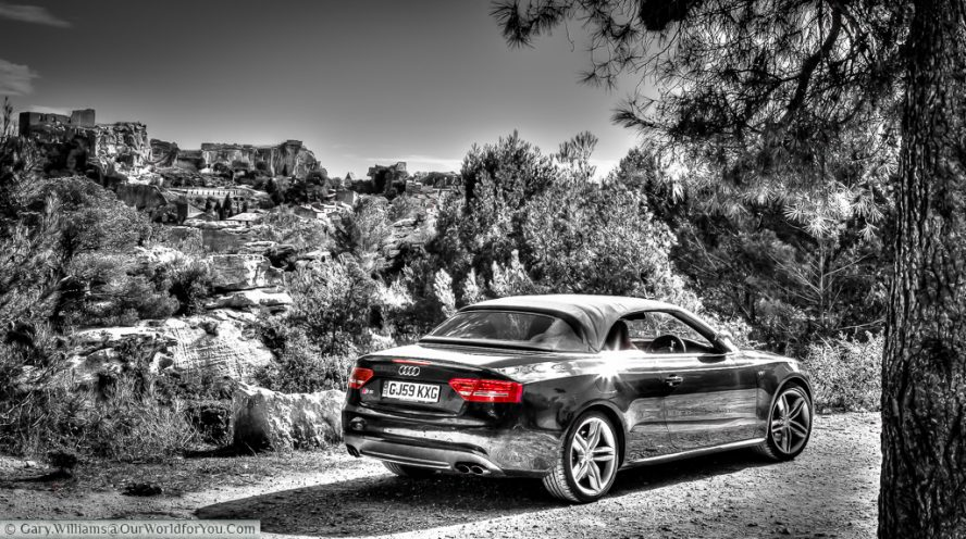 The Audi S5 Convertible just outside Les Baux de Provence, France . The perfect choise for a road trip