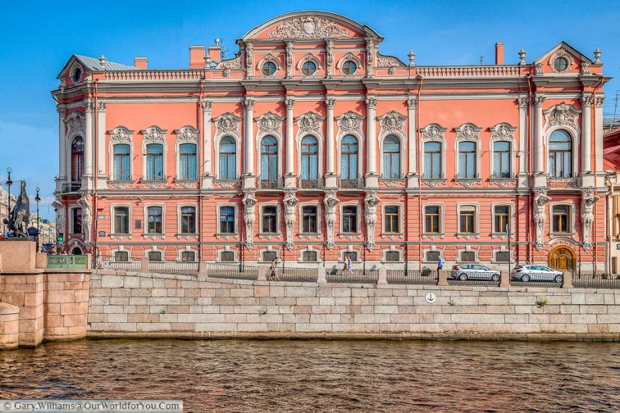 The Beloselskiy-Belozerskiy Palace, on the banks of the Fontanka River, nestled next to the Anichkov bridge, St Petersburg, Russia
