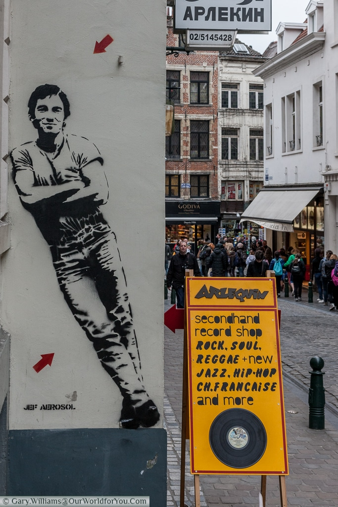 A stencil of Bruce Springsteen, by Jef Aerosol, on the side of the Arlequin second hand record store in Brussels.