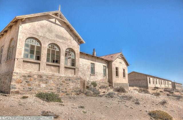 The doctor's building sat next to the hospital, Kolmanskop, Namibia