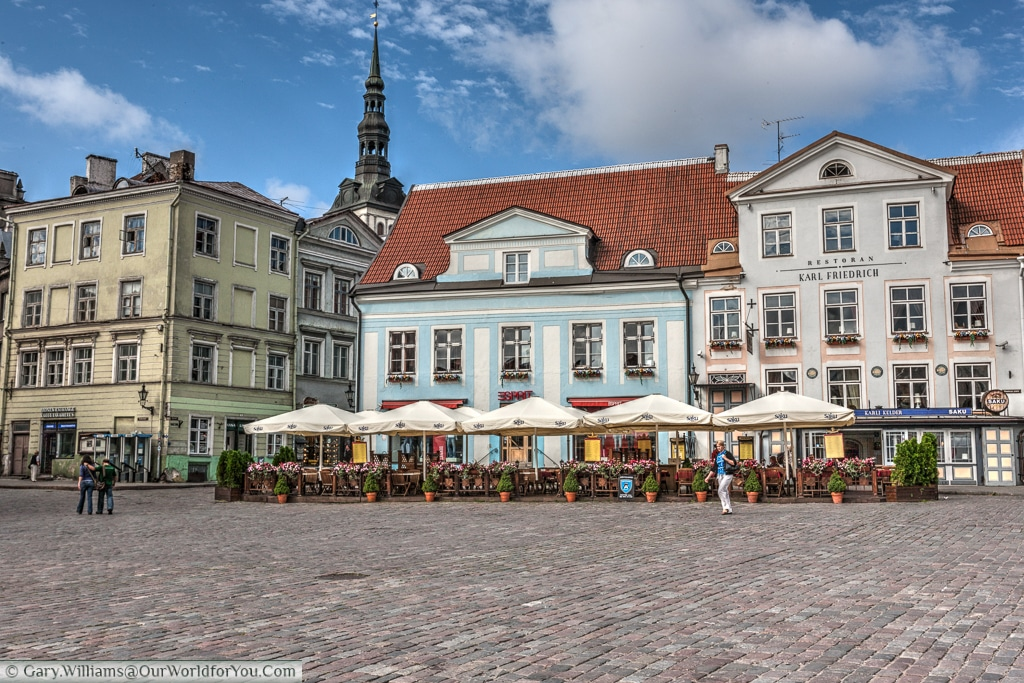 One of the many bars that line the old town hall square in Tallinn