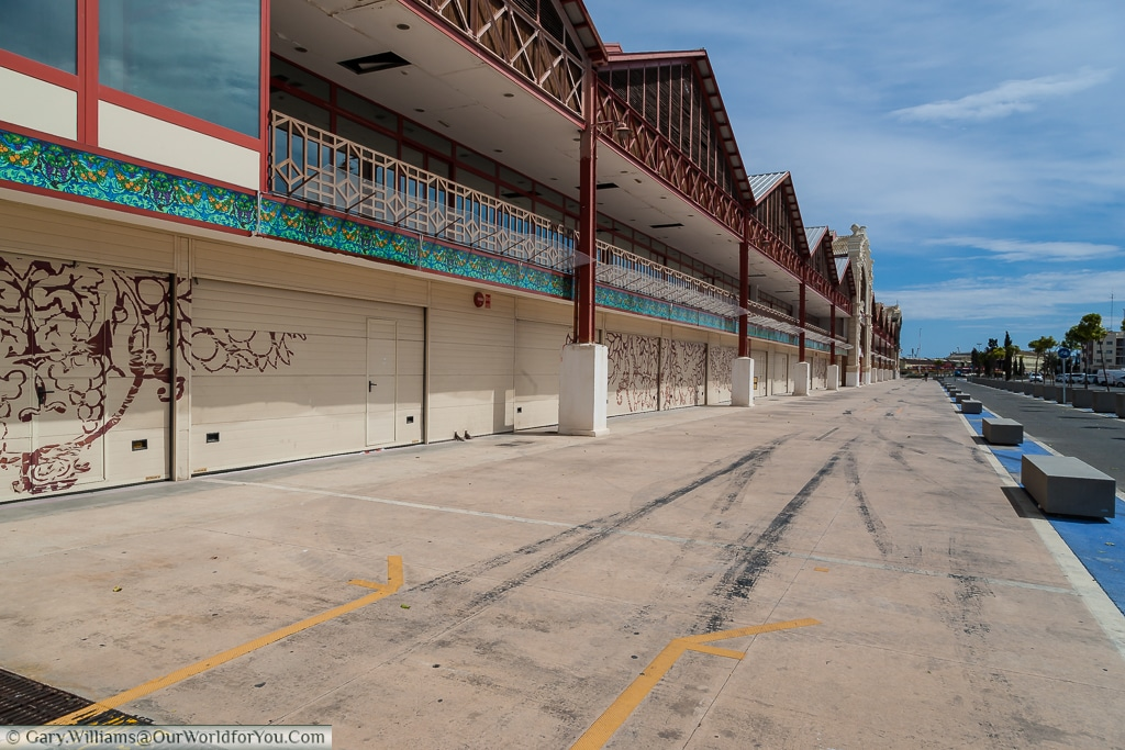 The abandoned Grand Prix pits of the F1 circus, Valencia, Spain