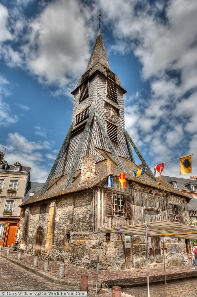 The bell tower of the Church of Saint Catherine stands a short distance from the church.