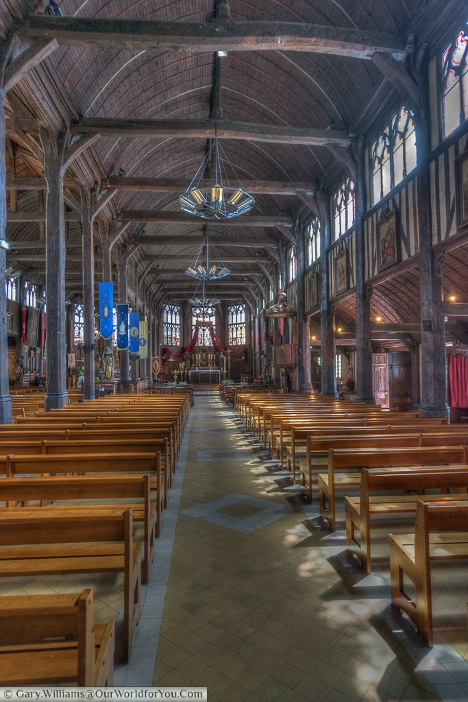 The interior of the Church of Saint Catherine, Honfleur, France