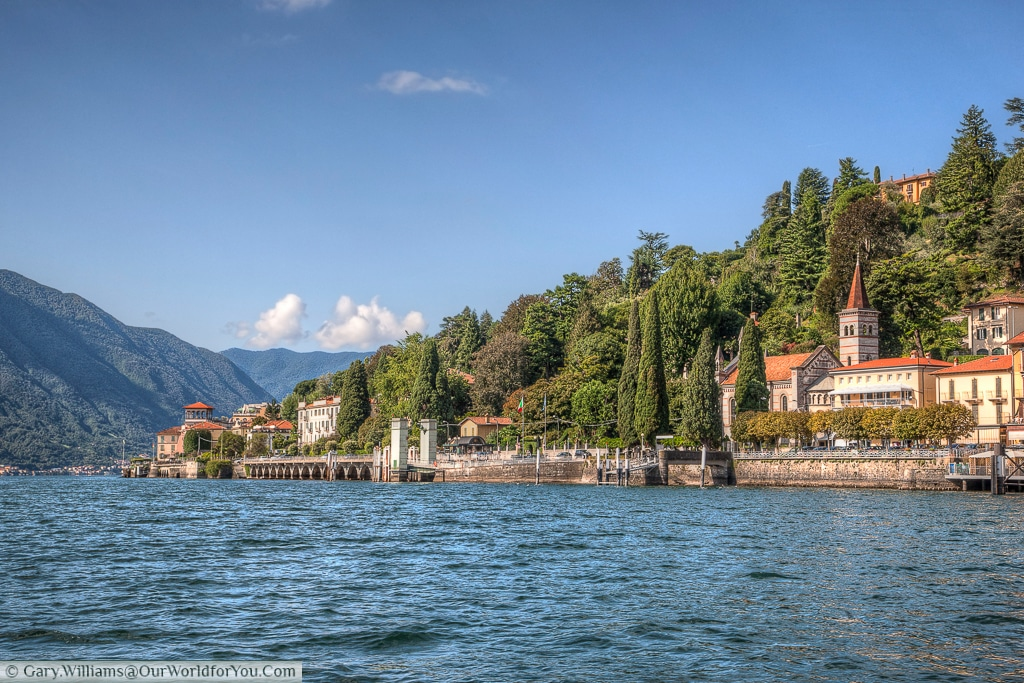The lakeside view of Cadenabbia to Tremezzina, Lake Como, Lombardy, Italy