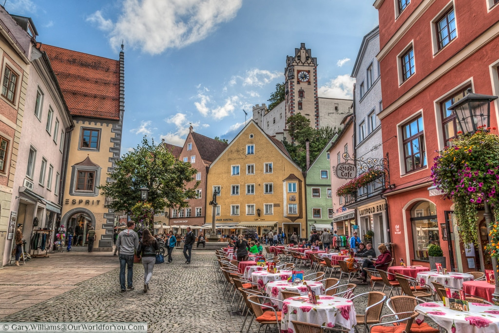 The town castle (Hohes Schloss) - from the high street, Füssen,Bavaria, Germany