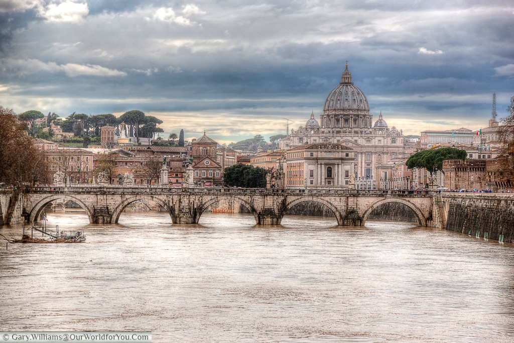 The view of the Basilica from the Ponte Umberto, Rome, Italy