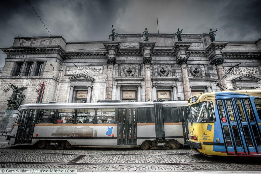 Trams passing outside Musée Modern, Brussels, Belgium