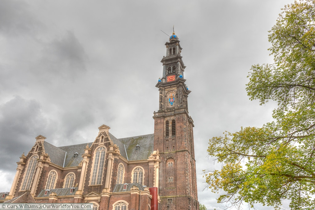The Westerkerk reformist church, on the edge of the Prinsengracht (Prince's Canal), Amsterdam, The Netherlands