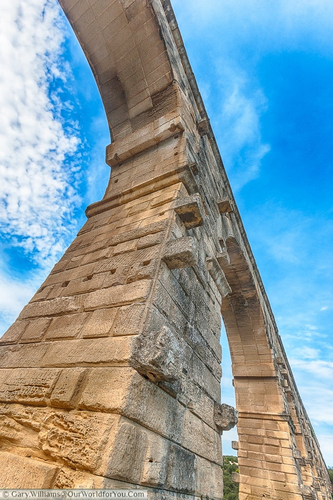 An up-close view of the Pont du Gard, France