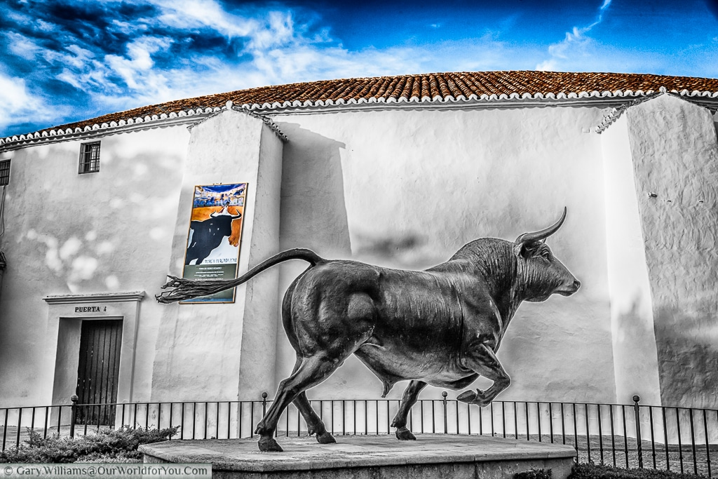 A bull statue outside the Bullring, Ronda, Spain