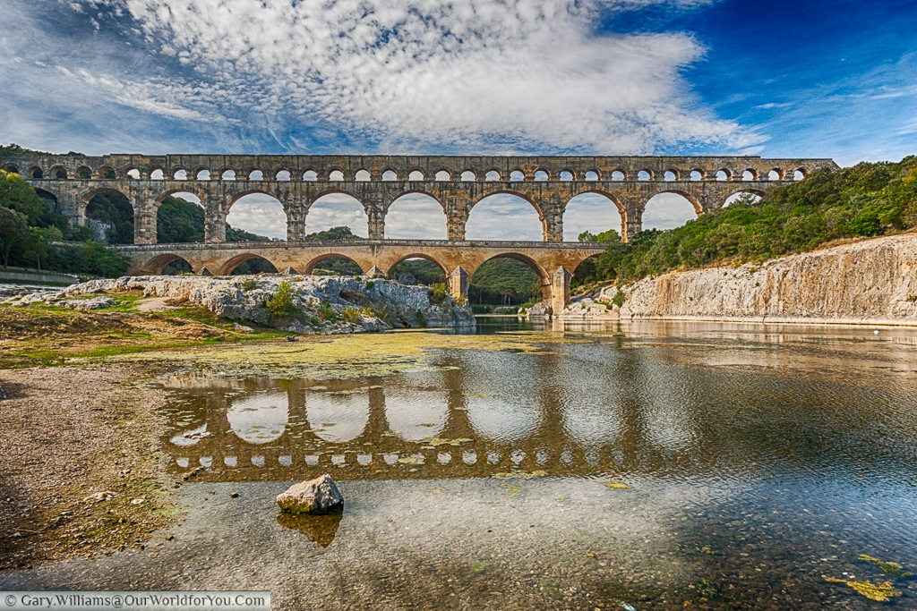 A fine view of the Pont du Gard, France