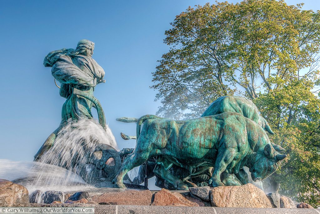The Norse goddess Gefjun driving the beasts during the creation of Zealand. to be found in the Nordre Toldbod area next to Kastellet, Copenhagen, Denmark