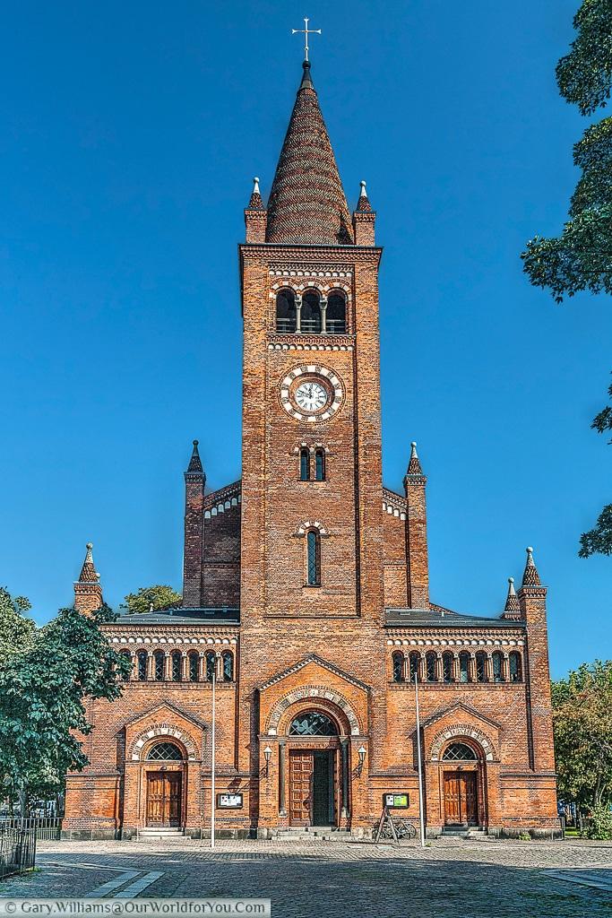 St. Paul's Church as viewed from Adelgade, Copenhagen, Denmark