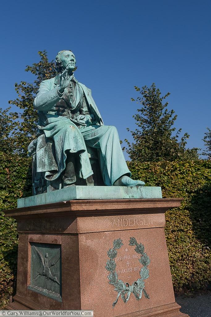 The statue to Hans Christian Andersen in Copenhagen, Denmark