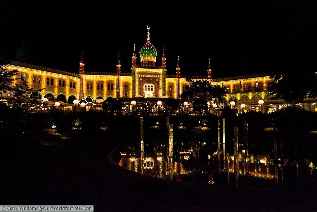 The Glass Hall Theatre at night in the Tivoli Gardens, Copenhagen, Denmark