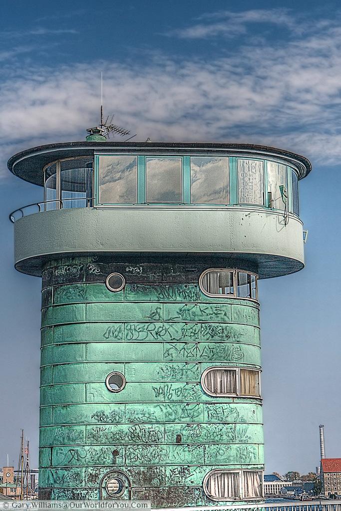 The control tower of the Knippelsbro, a bascule bridge in Copenhagen, Denmark