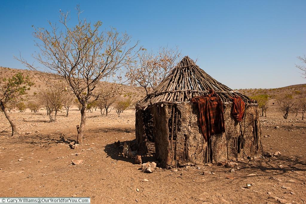 A hut of the Semi-Nomadic OvaHimba, Damaraland, Namibia