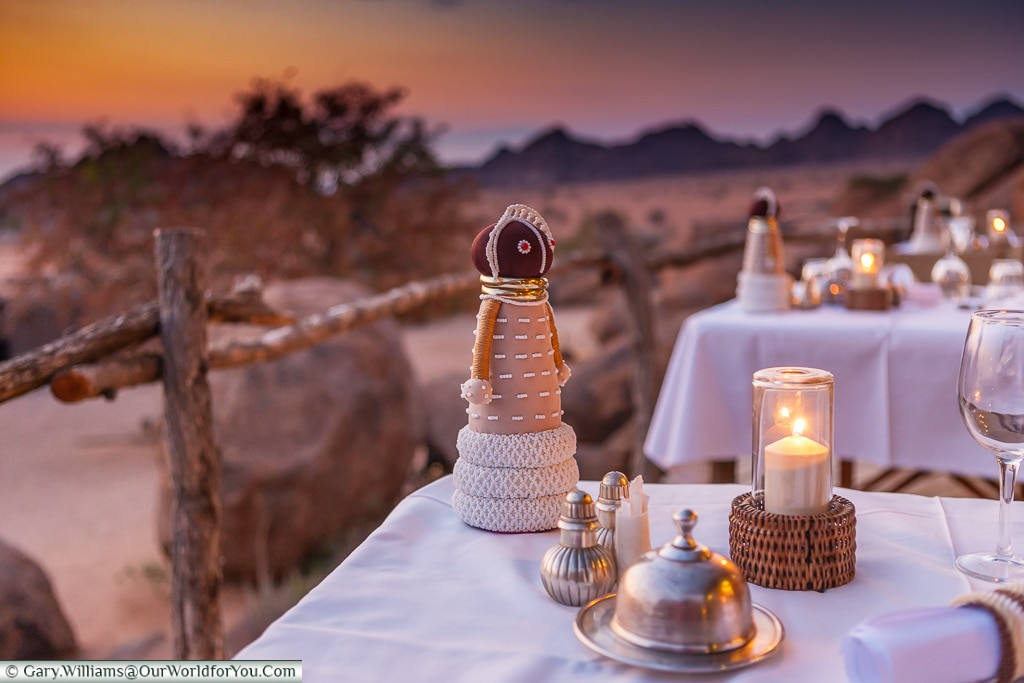An evening dinner at Camp Kipwe, Twyfelfontein, Namibia