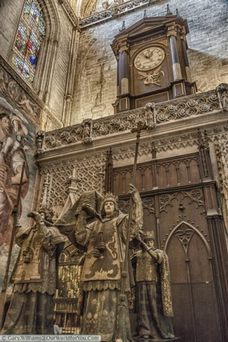 The tomb of Christopher Columbus in Seville Cathedral, Seville, Spain