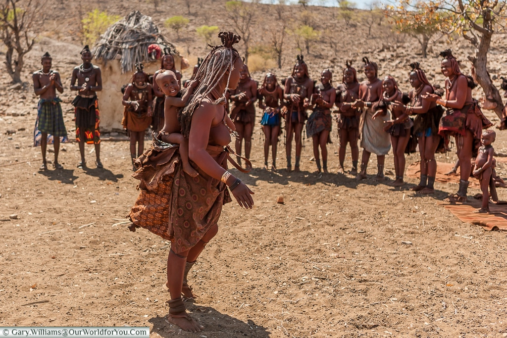 Coming along for the ride, The Himba tribe, Damaraland, Namibia