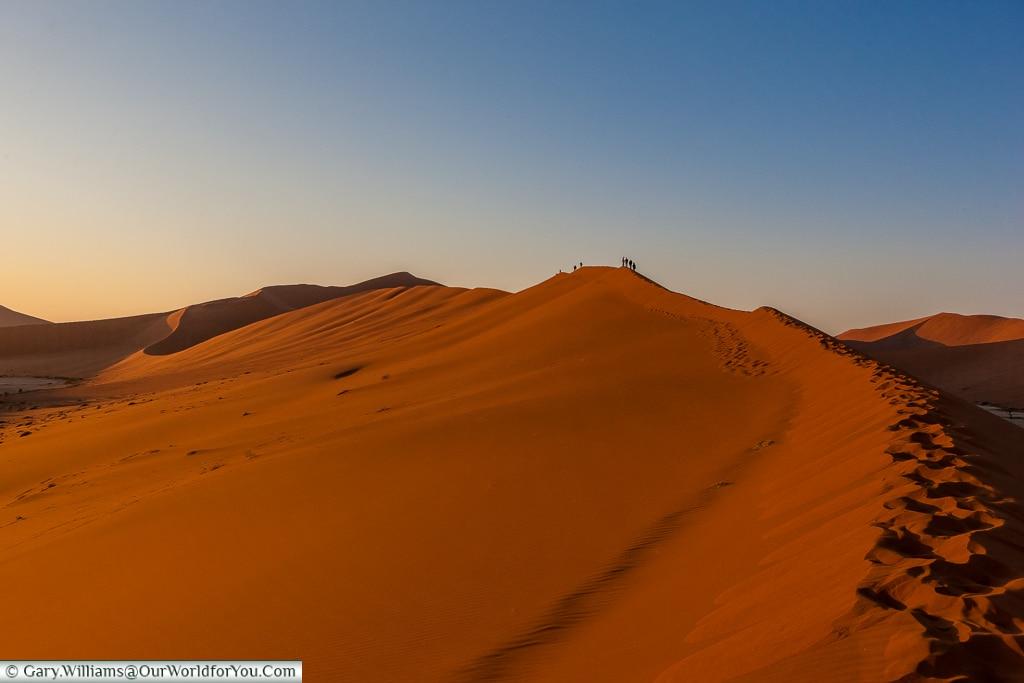 The long trek to catch sunrise, big mamma, Sossusvlei, Namibia